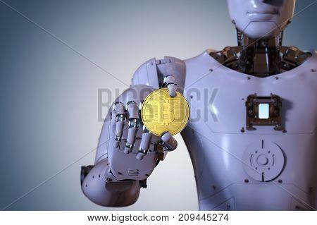 Robot Holding Gold Bitcoin