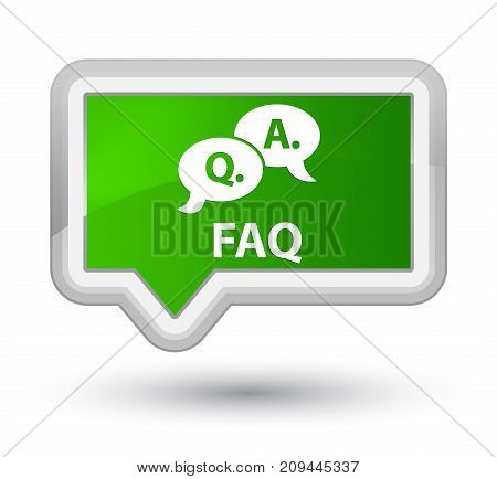 Faq (question Answer Bubble Icon) Prime Green Banner Button