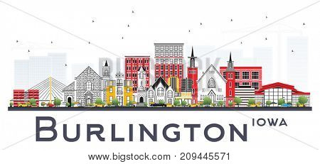 Burlington Iowa Skyline with Color Buildings Isolated on White Background. Business Travel and Tourism Concept with Historic Architecture.
