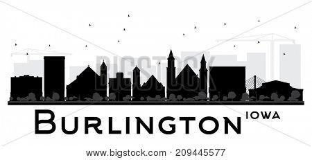 Burlington Iowa skyline black and white silhouette.