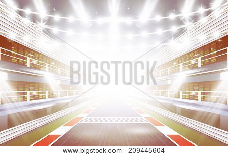 Race Track Arena with Spotlights and Finish Line.