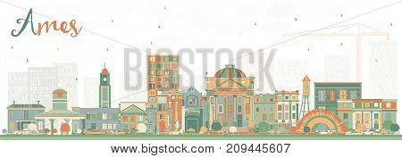 Ames Iowa Skyline with Color Buildings. Business Travel and Tourism Illustration with Historic Architecture.