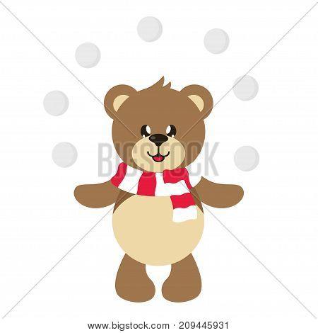 cartoon cute bear with snowball vector set