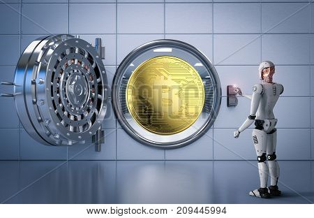 3d rendering humanoid robot working with bitcoin and bank vault