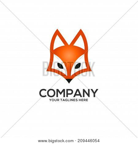 fox head logo vector, Flat vector fox logo isolated on white background, flat and color style European forest animal collection