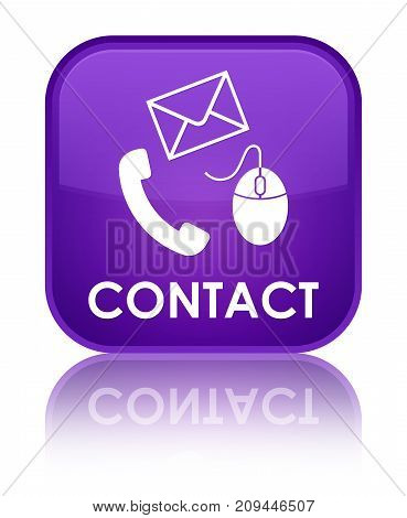 Contact (phone Email And Mouse Icon) Purple Special Square Button