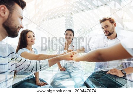 Perfect job. Close up of optimistic colleagues sitting in circle while keeping fists together