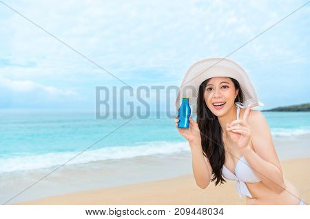Girl Wearing Bikini Clothing Standing On Beach