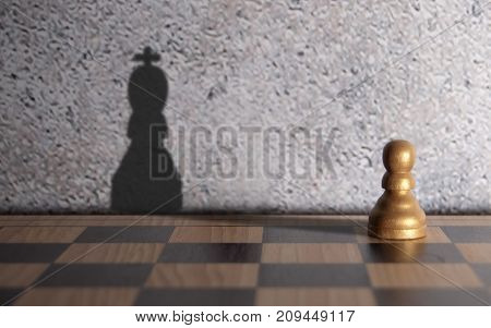 Chess king shadow emerging from a pawn