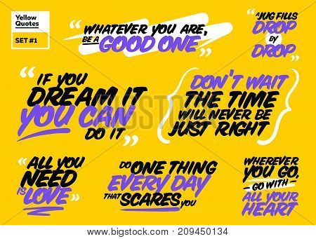 Vector Set of Motivational Quotes. Inspiring Short Phrases. Handwriting Brush Lettering. Collection of Positive Quote Signs. Famous Philosophical Message. Inspirational Sayings to Inspire Success.