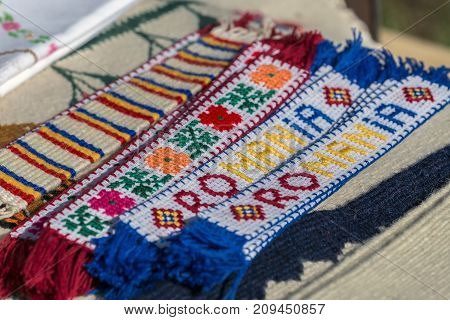 Bookmark with Romanian popular models homespun traditionally.