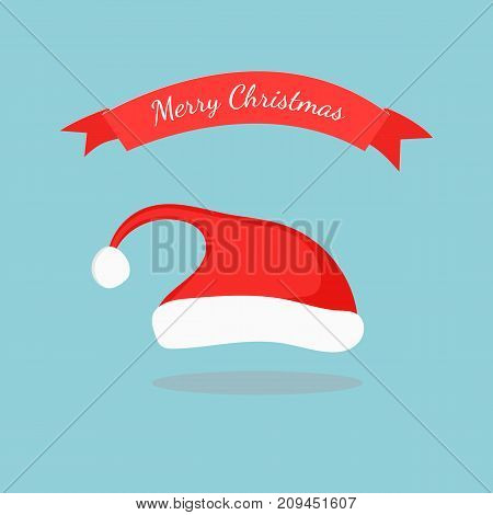 Single Christmas red hat isolated on background