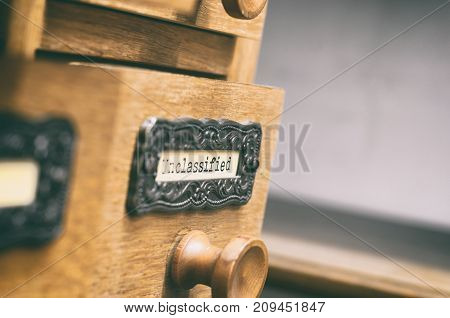 The Archives Card Catalog old wooden file catalog box index database archive and library concept. poster