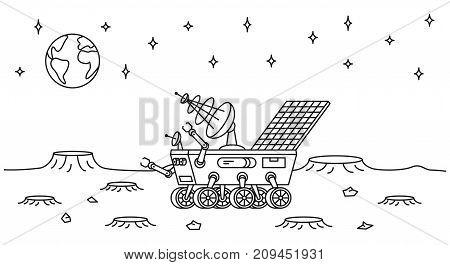 Moon rover vector illustration. Lunar vehicle transport line art concept. Mars rover moon walker robot outline graphic design.