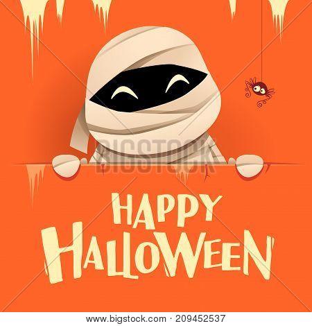 Happy Halloween. Mummy with big signboard. Retro vintage. Orange background.