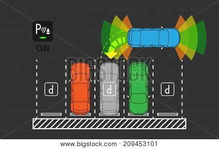 Parking assist system vector illustration. Autonomous car technology with sensors line art concept. Smart car assistance autopilot graphic design. Top view of intelligent sensors scanning free space.