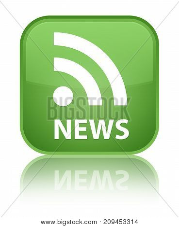 News (rss Icon) Special Soft Green Square Button
