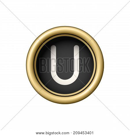 Letter U. Vintage golden typewriter button isolated on white background. Graphic design element for scrapbooking, sticker, web site, symbol, icon. Vector illustration.