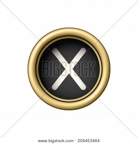 Letter X. Vintage golden typewriter button isolated on white background. Graphic design element for scrapbooking, sticker, web site, symbol, icon. Vector illustration.