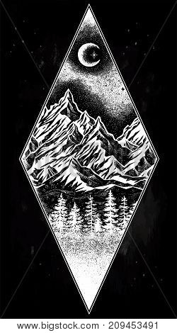 Hand drawn nature pine forest with mountains landscape, beautiful moon, sky with sacred geometry elements. Isolated vintage vector illustration. Invitation. Tattoo, travel, adventure, retro symbol.
