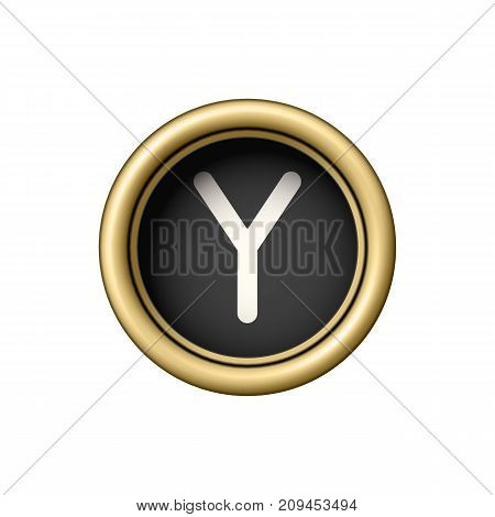 Letter Y. Vintage golden typewriter button isolated on white background. Graphic design element for scrapbooking, sticker, web site, symbol, icon. Vector illustration.