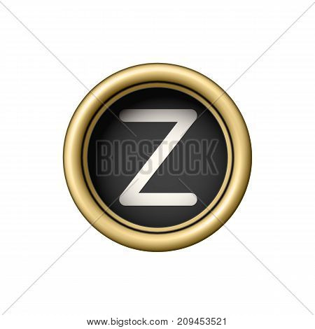 Letter Z. Vintage golden typewriter button isolated on white background. Graphic design element for scrapbooking, sticker, web site, symbol, icon. Vector illustration.