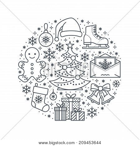 Christmas, new year banner illustration. Vector line icon of winter holidays - christmas tree, gifts, snowflakes, skates, letter to santa, bells, gingerbread. Celebration party circle template.