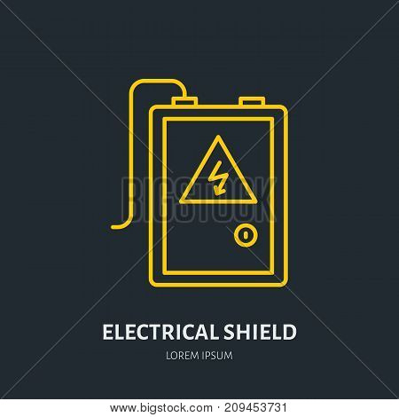 Electrical shield flat line icon. High voltage danger sign. Warning, electricity industry illustration.