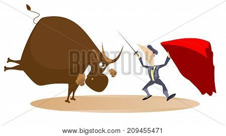Bullfighter with a sword fighting the bull. Bullfighter and a bull isolated