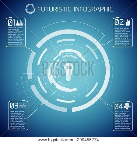Futuristic abstract infographics with virtual user interface bulb text and four options on blue background vector illustration