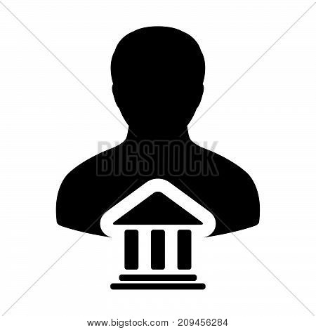 Bank Icon Vector With Person Profile Male Avatar Symbol For Banking And Finance In Glyph Pictogram I