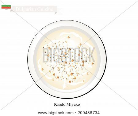 Bulgarian Cuisine, Kiselo Mlyako or Fermented Milk. One of The Most Popular Drink in Bulgaria.