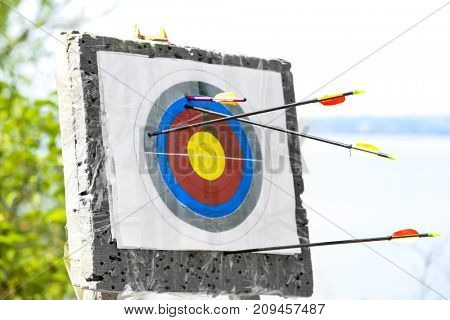 Target in archery club outdoors