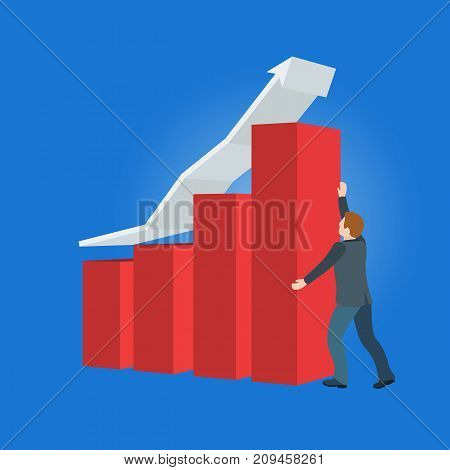 Increase business profits. Sales growth and revenue, business development. Banner in a flat 3d style. A man in a business suit holds an arrow. Objects on a blue background. Raster image