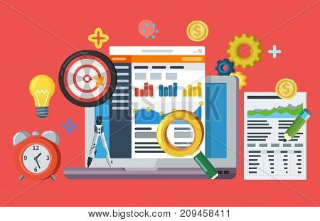 Data driven marketing strategy. Web banner in flat style. Lead generation, profit, business growth concept with icons. Business growth analytics and valuation development. Raster image