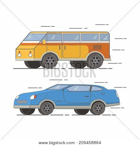 The tourist van for trips to the country and on the nature.Set of vehicle.Double sports sedan coupe.Tour bus.Road Trip.Travel by car.Trip mobile accommodation to a holiday  vintage retro motor home.