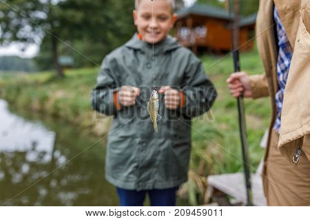 Father And Son Caught Little Fish