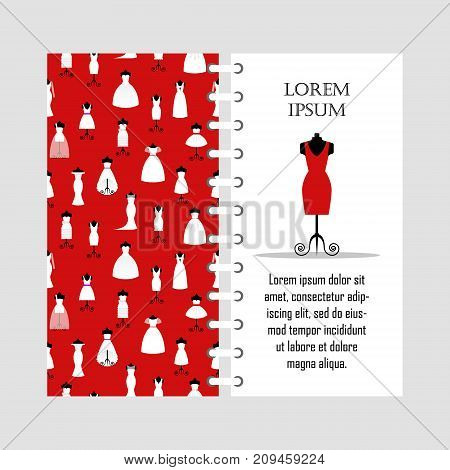 Vector template red woman dress on mannequin, collection of different white dresses seamless pattern, lady fashion boutique, wardrobe - vector illustration.
