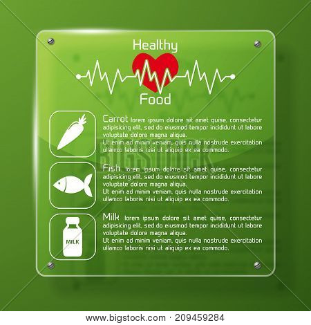 Healthy food infographics green layout with red heart symbol heart pulse graphic carrot fish milk images flat vector illustration