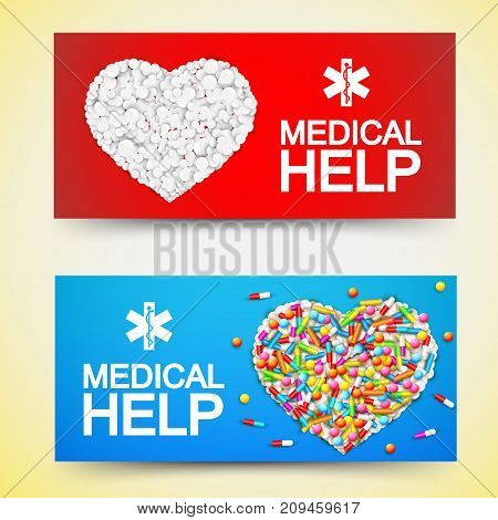 Medical help colored horizontal banners with mosaic of capsules pills and tablets in shape of heart flat vector illustration