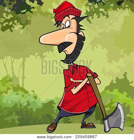 cartoon cunning woodsman in forest with an ax
