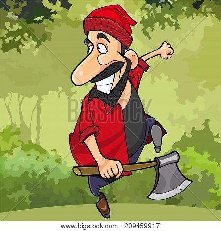 cartoon happy lumberjack runs through the forest with an ax