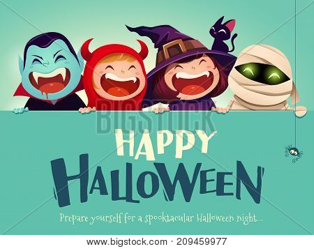 Happy Halloween Party. Group of kids in halloween costume with big signboard. Turquoise background.