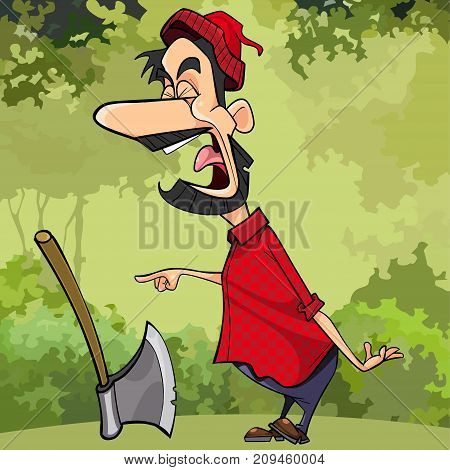cartoon screaming a woodcutter in the forest pointing his finger
