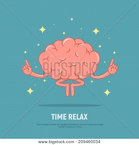 Cartoon brain meditation. Concept time relax. Calm brain in position lotus. Vector illustration in flat style.