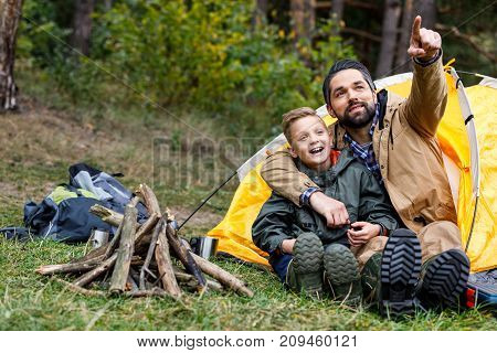 Father And Excited Son In Camping