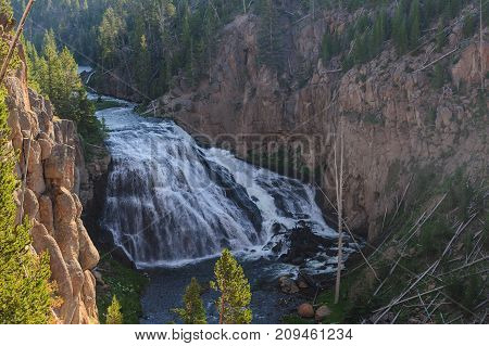 Overview of the Gibbon Falls, along the grand loop, in Yellowstone National Park