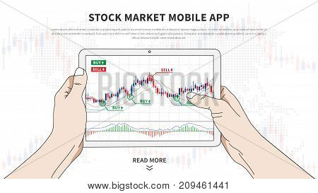 Stock market app vector illustration. Application for investment and online trading. Stock market mobile software graphic design. Hands hold tablet with japanese candlestick chart on it.