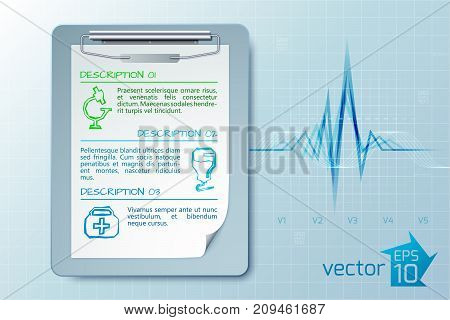 Medical care concept with clipboard text three descriptions sketch icons on light cardio background isolated vector illustration
