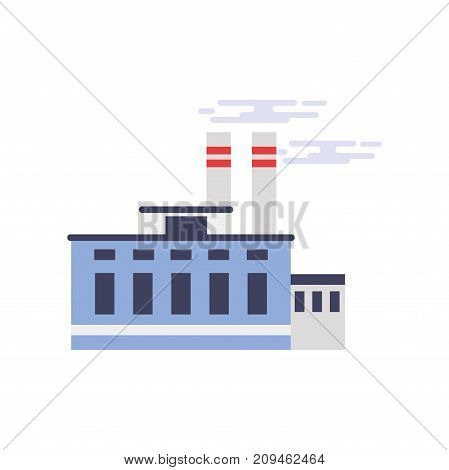 Industrial manufactory building, power or chemical plant, factory vector illustration isolated on a white background